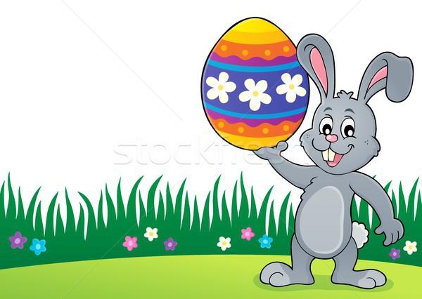 Bunny большой пасхальное яйцо тема счастливым Сток-фото © clairev
