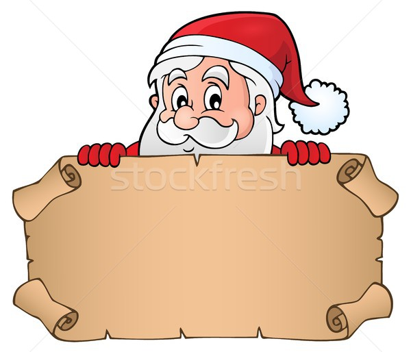 Lurking Santa Claus holding parchment 1 Stock photo © clairev