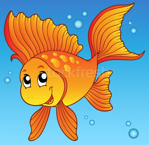 Cute goldfish in water Stock photo © clairev