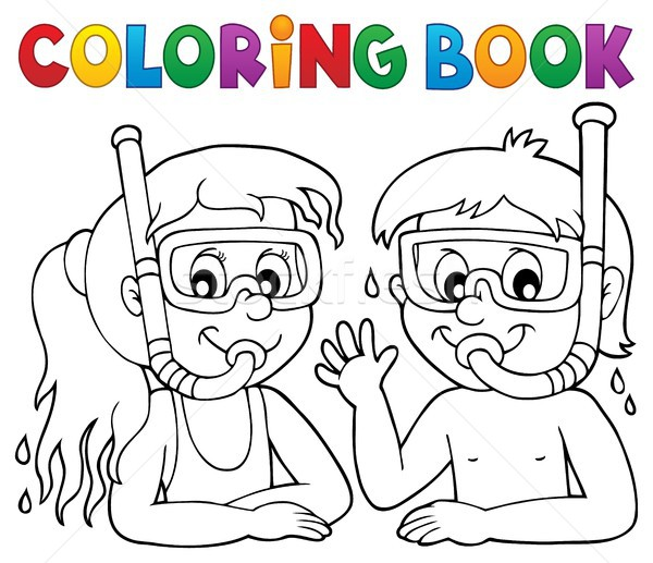 Coloring book children snorkel divers Stock photo © clairev