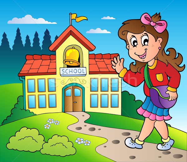 Theme with girl and school building Stock photo © clairev