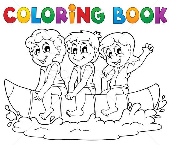 Libro para colorear agua deporte nina sonrisa ninos Foto stock © clairev