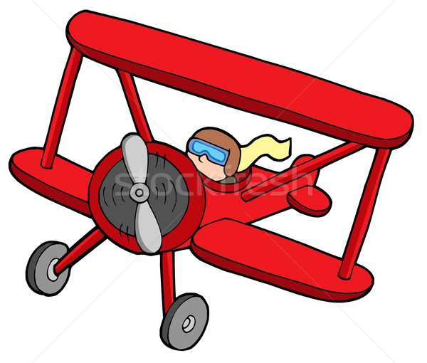 Flying red biplane Stock photo © clairev