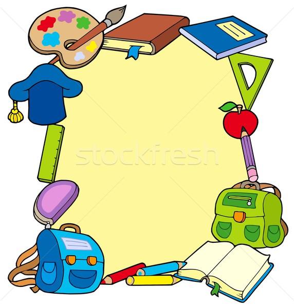 Keret iskola tárgyak könyv gyümölcs ceruza Stock fotó © clairev