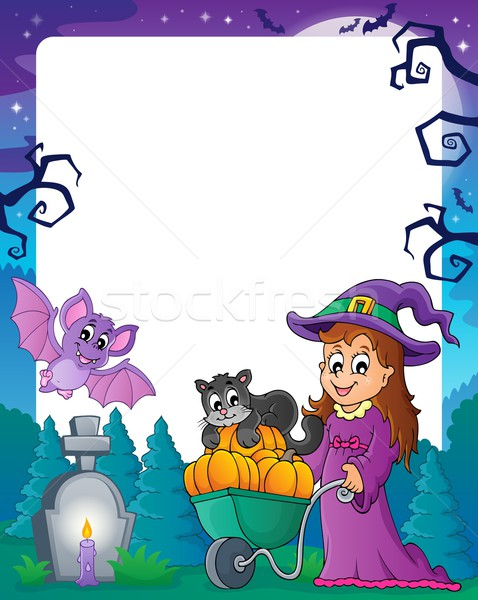 Photo stock: Halloween · cadre · art · automne · graphique · cartoon