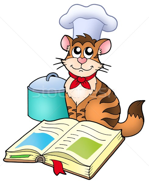 Cartoon cat chef with recipe book Stock photo © clairev