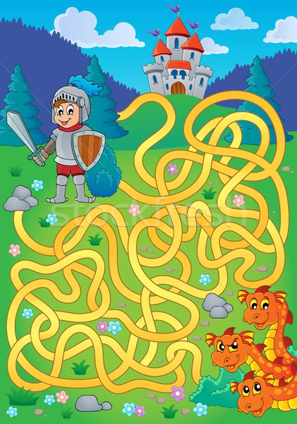Maze 1 with knight and dragon theme Stock photo © clairev