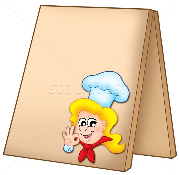 Menu board with cartoon chef woman Stock photo © clairev