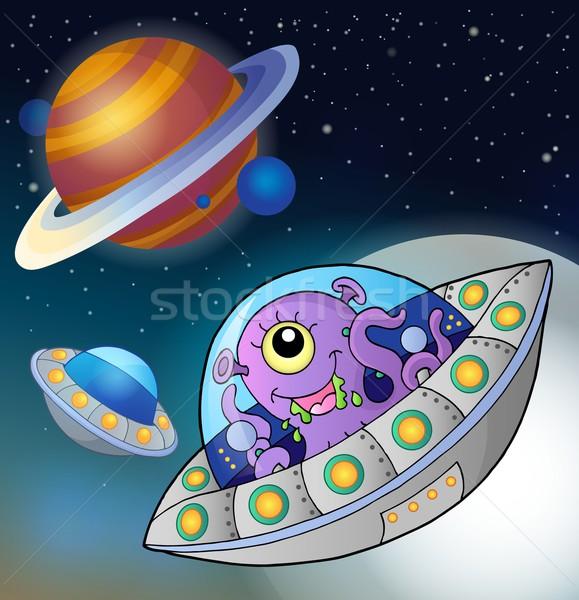 Voador espaço sorrir lua arte estrela Foto stock © clairev