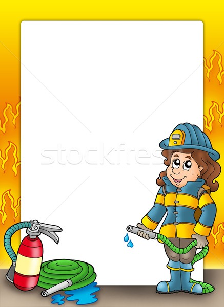 Frame with firefighter girl Stock photo © clairev