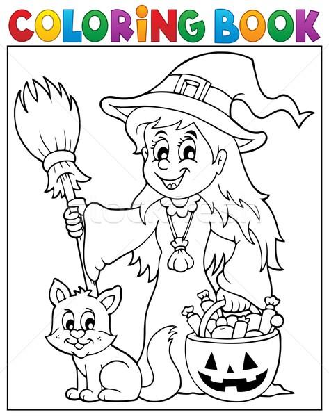 Boyama Kitabı Sevimli Cadı Kedi Kitap Boya Vektör