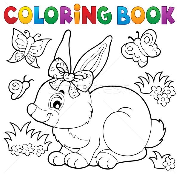 книжка-раскраска кролик тема книга краской искусства Сток-фото © clairev