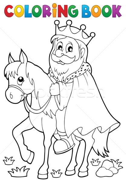 Boyama Kitabı Kral At Kitap Adam Boya Vektör