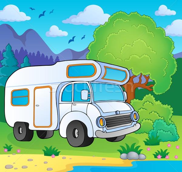 Camping van on lake shore Stock photo © clairev