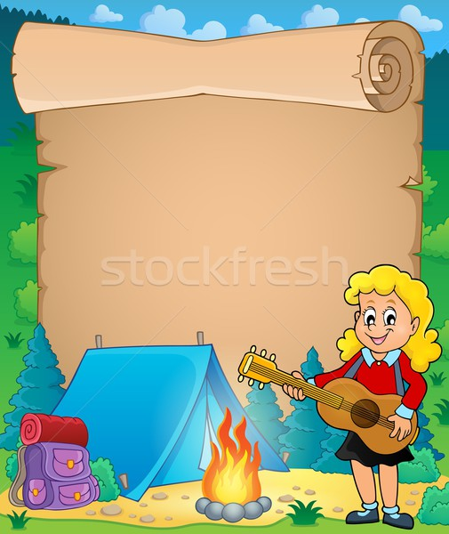 Parchment with girl guitarist in camp 1 Stock photo © clairev