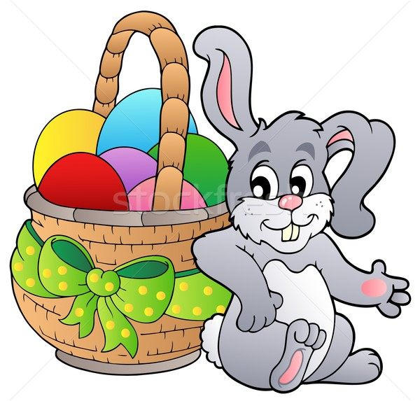 Basket with Easter eggs and bunny Stock photo © clairev