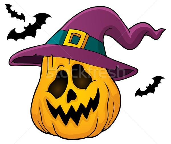 Dynia kapelusz czarownicy obraz twarz sztuki jesienią Zdjęcia stock © clairev