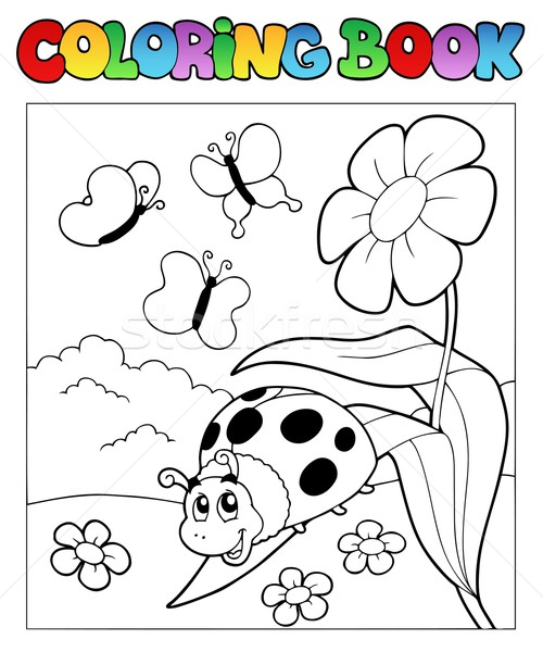 Boyama kitabı uğur böceği çiçek bahar kitap doğa Stok fotoğraf © clairev