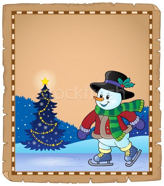 Pergamino patinaje muñeco de nieve árbol feliz deporte Foto stock © clairev