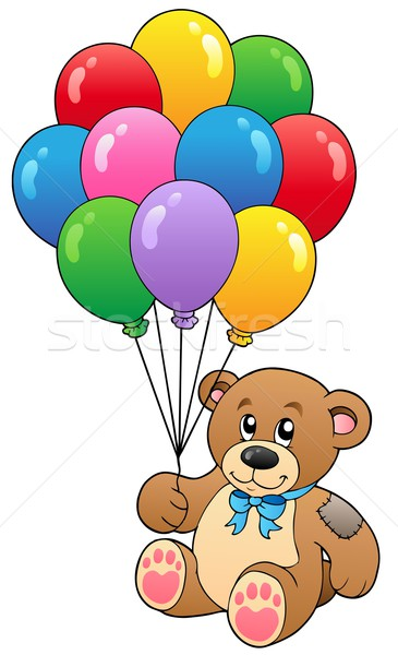 Cute teddy bear holding balloons Stock photo © clairev