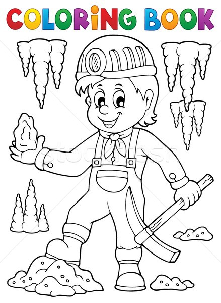 Coloring book miner theme image 1 Stock photo © clairev