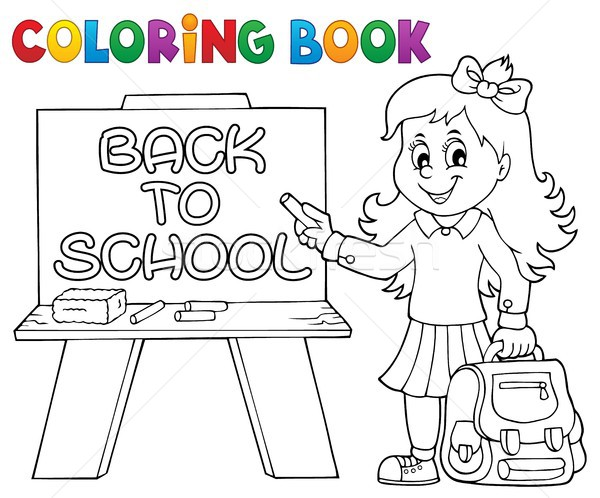 Coloring book happy pupil girl theme 5 Stock photo © clairev