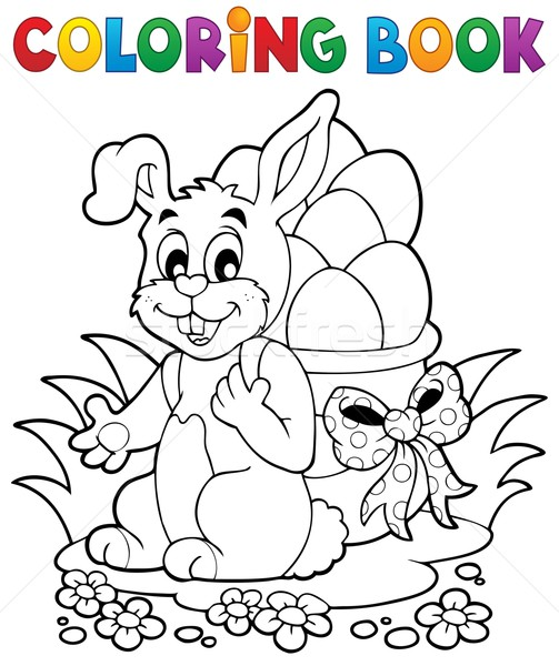 Coloring book Easter bunny 1 Stock photo © clairev