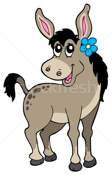 Cute donkey with flower Stock photo © clairev