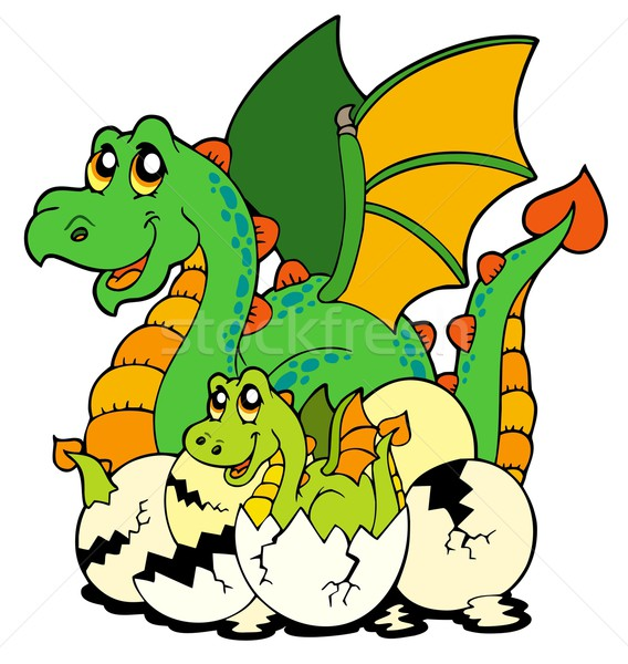 Dragon mom with baby and eggs Stock photo © clairev