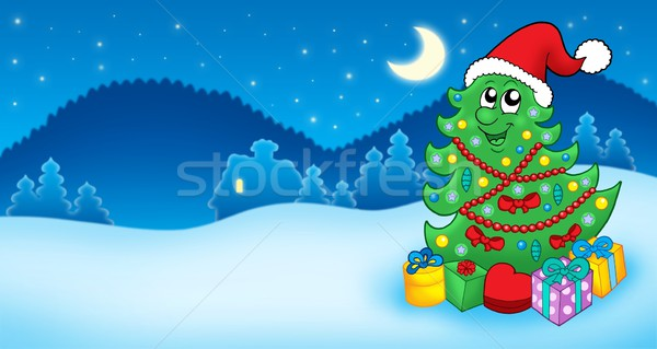 Christmas card with Santa tree and gift Stock photo © clairev