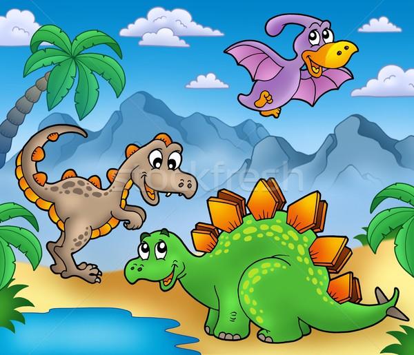 Stock fotó: Tájkép · dinoszauruszok · szín · illusztráció · víz · művészet