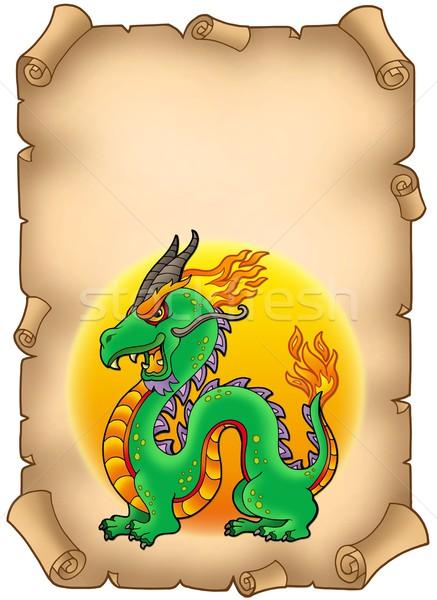 пергаменте Китайский дракон цвета иллюстрация бумаги искусства Сток-фото © clairev