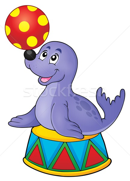 Seal playing with ball theme 2 Stock photo © clairev