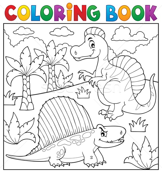 Coloring book dinosaur topic 7 Stock photo © clairev