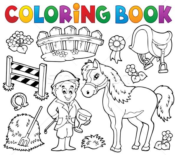 Livre de coloriage jockey cheval fleur livre homme Photo stock © clairev