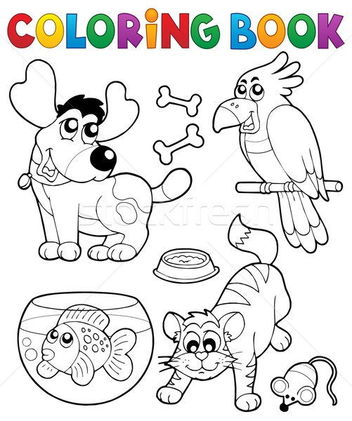 Coloring book with pets 4 Stock photo © clairev