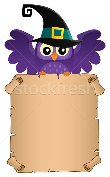 Halloween owl holding parchment theme 2 Stock photo © clairev