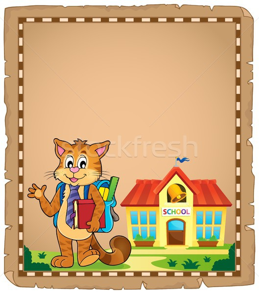 School cat theme parchment 1 Stock photo © clairev