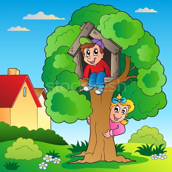 Kert kettő gyerekek fa boldog gyermek Stock fotó © clairev
