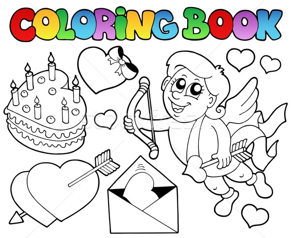 Coloring book Valentine theme 4 Stock photo © clairev