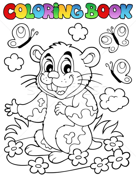 Coloring book with cartoon hamster Stock photo © clairev