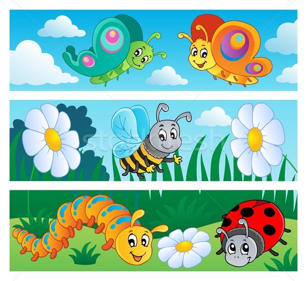 Foto stock: Erros · banners · coleção · flor · primavera · borboleta
