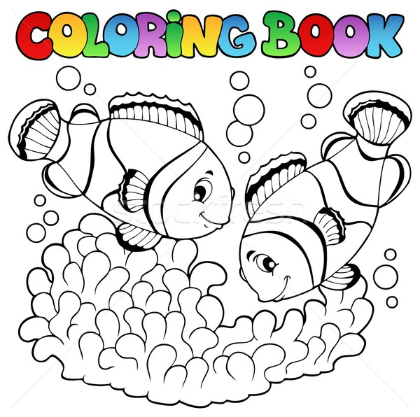 Coloring book two cute clown fishes Stock photo © clairev