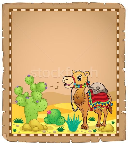 Parşömen deve sanat taş bitki tropikal Stok fotoğraf © clairev