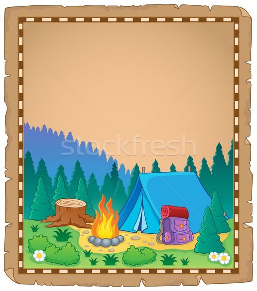 Pergamen táborhely tavasz művészet nyár vakáció Stock fotó © clairev