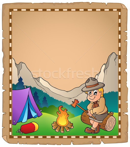 Parchment with scout by campfire Stock photo © clairev