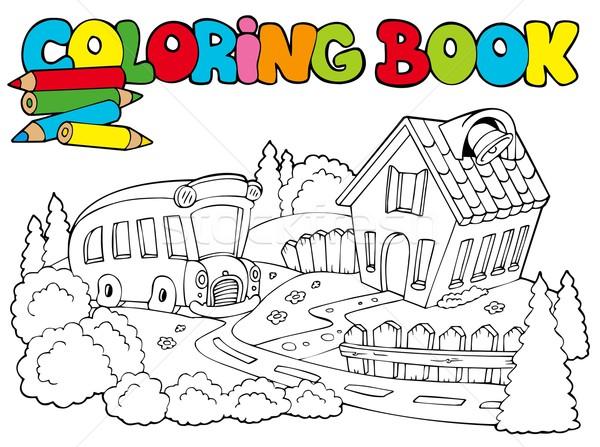 Boyama Kitabi Okul Otobusu Ev Kitap Okul Otobus