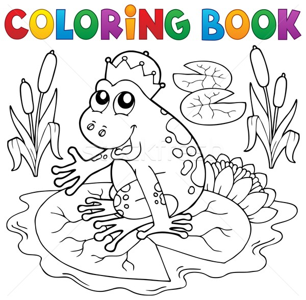 Coloring book fairy tale frog Stock photo © clairev