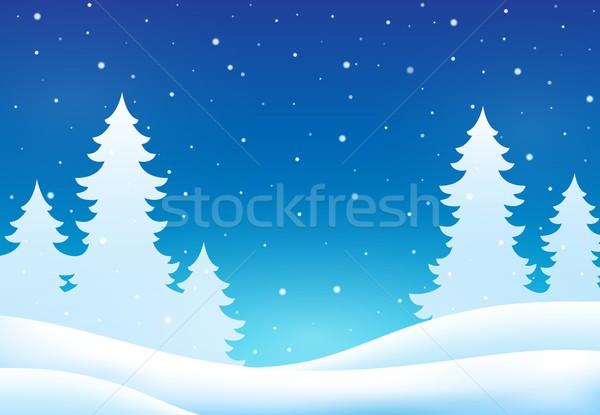 Zimą drzewo charakter śniegu drzew sztuki Zdjęcia stock © clairev