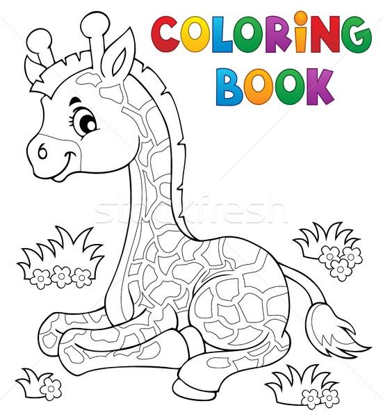 Boyama Kitabı Genç Zürafa Kitap Mutlu Doğa Vektör